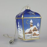 Christmas Decorated LED Glass Lantern Blue Class 01