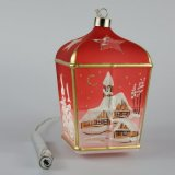 Christmas Decorated LED Glass Lantern Red Class 01