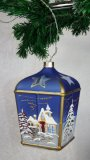 Christmas Decorated LED Glass Lantern Blue Lux 01